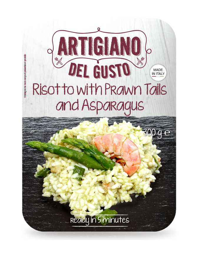 Risotto with prawn tails and asparagus