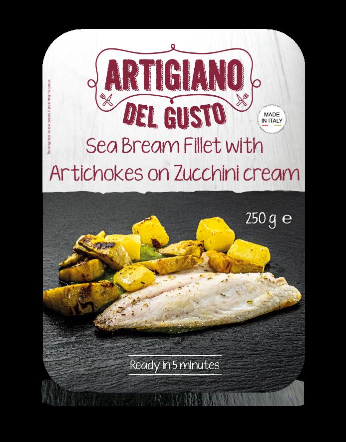 Sea Bream Fillet with Artichokes on Zucchini cream
